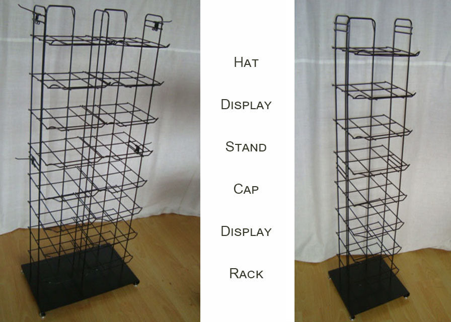 Metal Wire Baseball Cap Display Rack / Multiple Shelves Floor Standing Hat Rack
