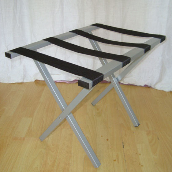 Folding Metal Luggage Rack Sliver Hotel Luggage Stand With Straight Legs